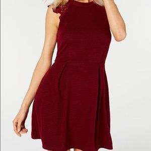 Speechless Juniors Lace-Contrast Fit & Flare Dress